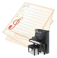 empty paper with musical notes beside a piano