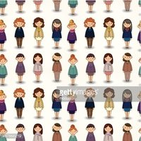 cartoon pretty office woman worker seamless pattern