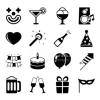 Party icons set, contrast flat