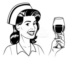 Retro Nurse With Wine