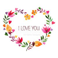 Love card with watercolor floral bouquet