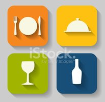 Modern Flat Food Icon Set for Web