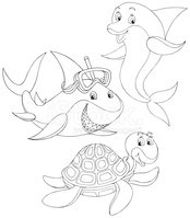 Dolphin,Ilustration,Outline...