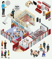 isometric of workstation. office