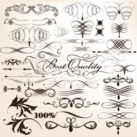 Collection of vector decorative flourishes in vintage style for