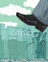 Crushing The Competition. Large Shoe Stomping An Office Building
