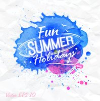 Sand watercolor spot with lettering Fun summer holidays blue.