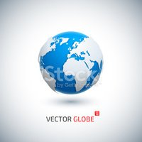 Vector illustration of blue-and-white globe icon