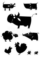 Silhouette,Pig,Back Lit,Chi...