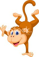 Cute monkey cartoon standing in its hand