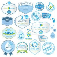 Set of labels and stickers for water