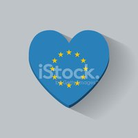 Heart-shaped icon with flag of Europe