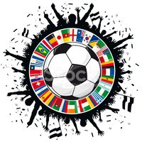 Soccer Ball, Cheering Fans, Circle of Flags Soccer Championship