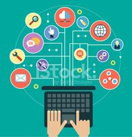 Infographics background laptop in the Social Media Network