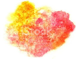 splash red, yellow paint blot watercolour color water ink isolat