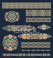 Set of decorative elements in oriental style (vector)