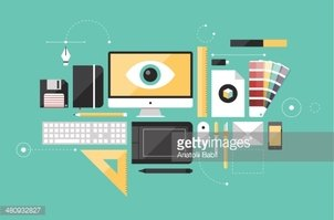 Graphic designer workplace flat illustration
