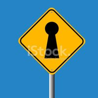 key hole in traffic sign vector