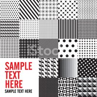 Background Abstract black and white seamless patterns set, vecto