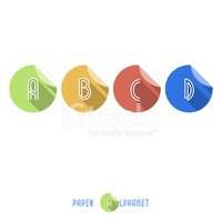 B C D A - Flat Design Paper Button Alphabet