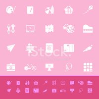 Hobby color icons on pink background