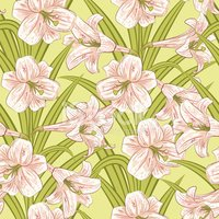 Pink And Green Lilly Seamless Pattern