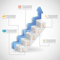 Success Steps Concept Arrow and Staircase Infographic Icons Vect