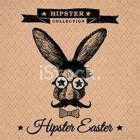Hipster Easter - vintage easter poster with bunny.