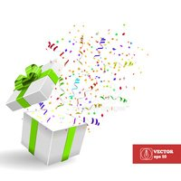 Open Giftbox with Confetti. Vector Background