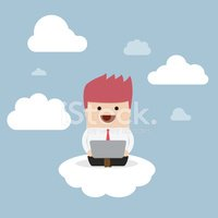 Businessman working on laptop on the cloud