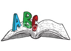 Open Book with ABC, Hand Drawn