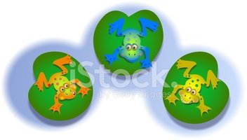 Frog,Cartoon,Water Lily,Thr...