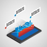 tablet PC with chart, business concept