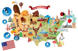 Map,USA,Cartoon,Travel,Cult...