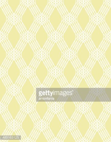 Abstract white line seamless pattern on yellow