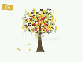Asian currency growing tree vector: Brunei Dollar