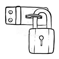 Lock,Door,Black Color,Carto...