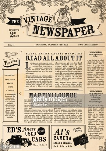 Vintage Newspaper Layout Design Template Stock Vectors Clipart