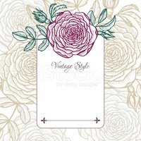 vintage floral card with rose
