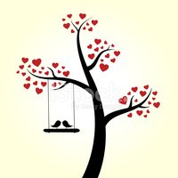 Tree,Bird,Heart Shape,Silho...