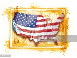 United States Map With Federal State California Stock Vector