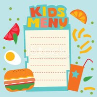 Child,Menu,Food,Paper,Vecto...
