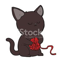 cartoon cute black cat playing with ball of yarn