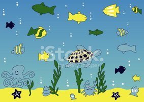 Sea,Cartoon,Coral,Fish,Unde...