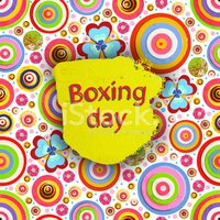 Boxing day. Offer tag, motivational background. Holiday Discount