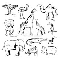 Camel,Remote,Isolated,Drawi...