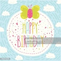 Happy birthday text label with butterfly.