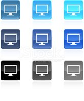 computer monitor royalty free vector icon set
