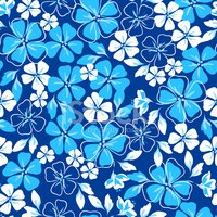 Blue and white floral seamless pattern