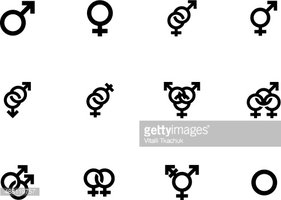 Gender identities icons on white background.